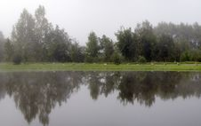 Panorama. Morning Fog Over A Pond Royalty Free Stock Photography