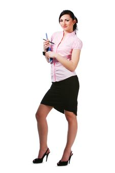 Free Charming Girl In Pink Blouse With Papers Stock Photos - 16067733