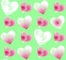 Free Seamless Romantic Pattern With Hearts. Royalty Free Stock Image - 16068146