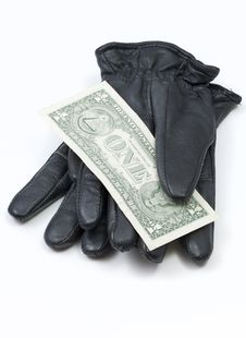 Free Black Leather Gloves With Dollar Bills Royalty Free Stock Image - 16069016