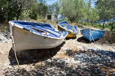 Free Old Rowing Boats Putted Up Onto Dry Land Royalty Free Stock Image - 16069116