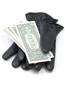 Free Black Leather Gloves With Dollar Bills Royalty Free Stock Photo - 16069345