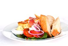 Omelet With Bread Stock Images