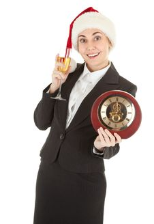 Free Business Girl In Santa Hat And With Champagne Royalty Free Stock Photos - 16070208