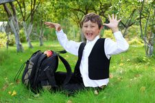 Free Schoolboy With Backpack And Apple Stock Photo - 16070660