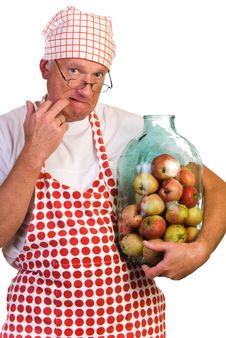 Free A Man With Huge Jar Filled With Apples Royalty Free Stock Photos - 16071648