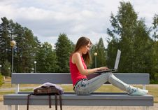 Free Beautiful College Student Working On Her Laptop Royalty Free Stock Photo - 16071975