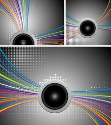 Free Vector Music Illustration With Speakers Royalty Free Stock Photo - 16072365