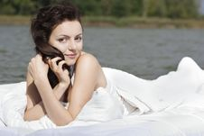 Free Woman Lying On The Bed In The Sea Royalty Free Stock Photography - 16072847