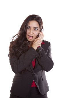 Business Woman On Phone Surprised. Royalty Free Stock Photography