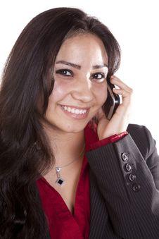 Free Woman Headshot On Phone Happy Royalty Free Stock Photos - 16074458