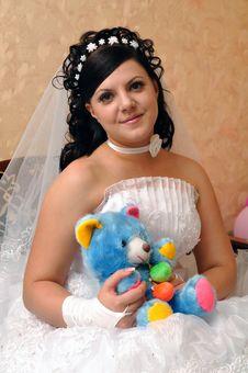 Bride With Teddy Stock Photos