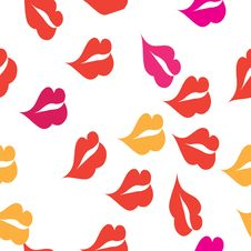Seamless Texture With A Lot Of Red Lips Prints Stock Images