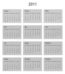 Calendar For Year 2011.  Format. Stock Image