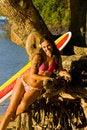 Free Hawaii Surfer Girl Stock Image - 16084831