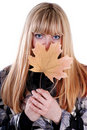 Free Cute Blond With Leaf Stock Photography - 16085812
