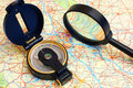 Free Compass On A Map Royalty Free Stock Photo - 16088005