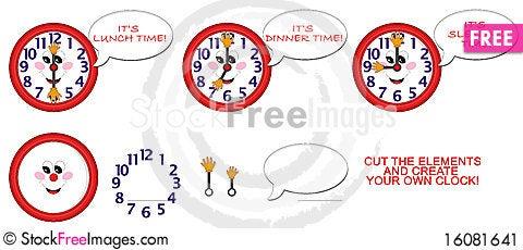 Free Clock For Children Stock Image - 16081641