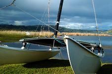 Free Catamaran Resting On The Shoreside Royalty Free Stock Image - 16080476