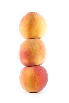 Free Three Fresh Peaches Stacked On Each Other Royalty Free Stock Image - 16080756