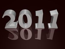New Year 2011 In Silver- A 3d Image Royalty Free Stock Photo