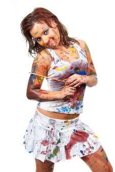 Free Girl Smeared In Paint Royalty Free Stock Photos - 16081158