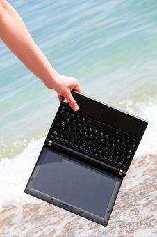 Net Book At The Beach Stock Image
