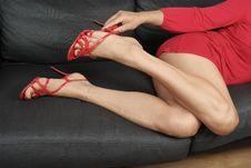 Free Beautiful Woman  Legs  Relaxing Stock Image - 16082071