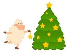 Free Cartoon Funny Sheep Dresses Up A Fir-tree. Royalty Free Stock Photos - 16084388