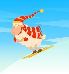 Cartoon Funny Skier Sheep Stock Image