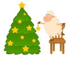 Free Cartoon Funny Sheep Dresses Up A Fir-tree. Stock Photo - 16084610
