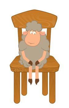 Cartoon Funny Sad Sheep Sits On A Chair