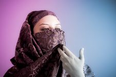 Free Arab Veiled Woman Dressed Lit With Two Lights Stock Photography - 16084672