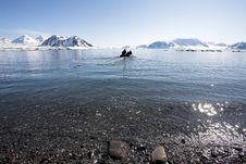 Free Arctic Landscape - People In The Boat Royalty Free Stock Photo - 16085105