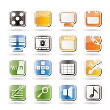 Free Phone Performance, Internet And Office Icons Royalty Free Stock Photo - 16085155