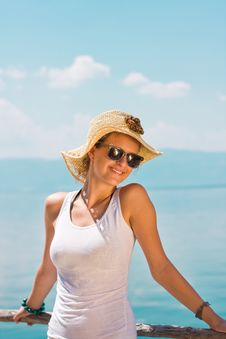 Happy Young Girl In White Tank Top Stock Photos