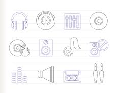 Free Music And Sound Icons Stock Images - 16085444