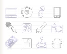 Computer And Mobile Phone Equipment Icons Stock Image