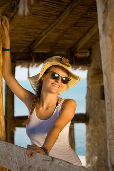 Free Happy Young Girl In White Tank Top Royalty Free Stock Photo - 16085475