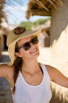 Free Happy Young Girl In White Tank Top Royalty Free Stock Photography - 16085537
