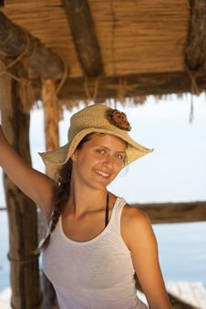 Free Happy Young Girl In White Tank Top Royalty Free Stock Image - 16085656