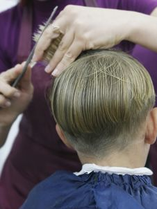 Boy Getting Haircut Royalty Free Stock Photos