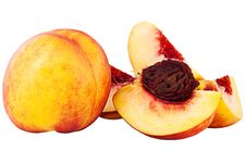 Free Whole Nectarine And Cut On Shares With A Stone Stock Image - 16087941