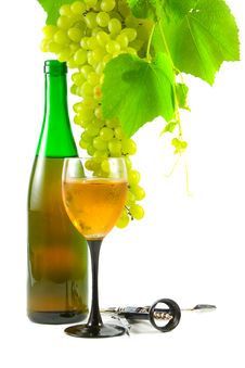 Bottle Of Wine, Glass And Grapes Stock Photos