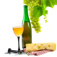 Bottle Of Wine, Glass And Grapes Stock Photo