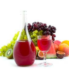 Bottle Of Wine, Glass And Fruits Stock Photo