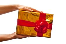 Yellow Gift Box In Woman S Hand Royalty Free Stock Image