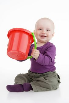 Free Infant With Pail Stock Photos - 16089403