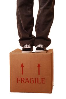 Free Fragile Box - Man Standing Stock Image - 16089971