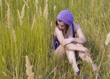 Free The Girl In The Field. Royalty Free Stock Photo - 16090005